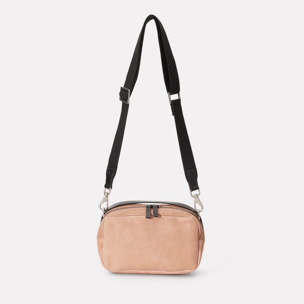 Ginger Calvert Leather Crossbody Bag With Webbing Strap in Clay
