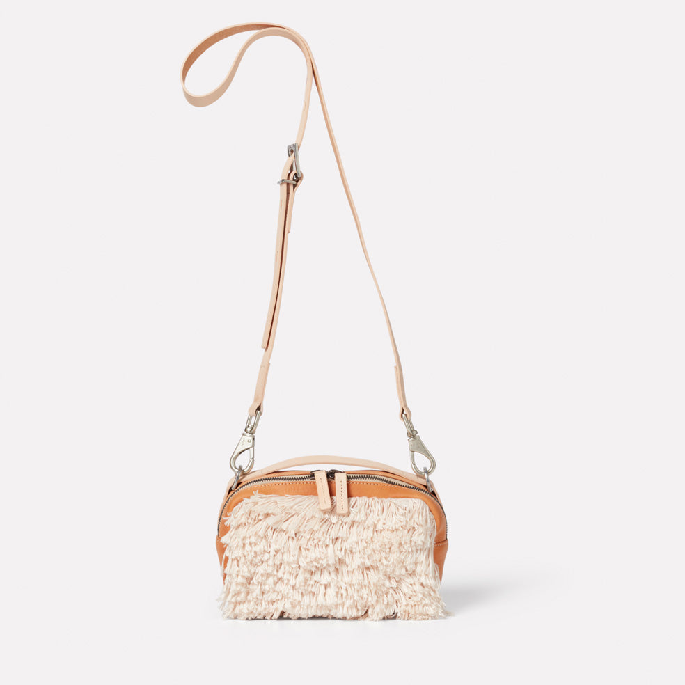 """Tufty"" Mini Ginger Calvert Leather Crossbody Bag in Natural"