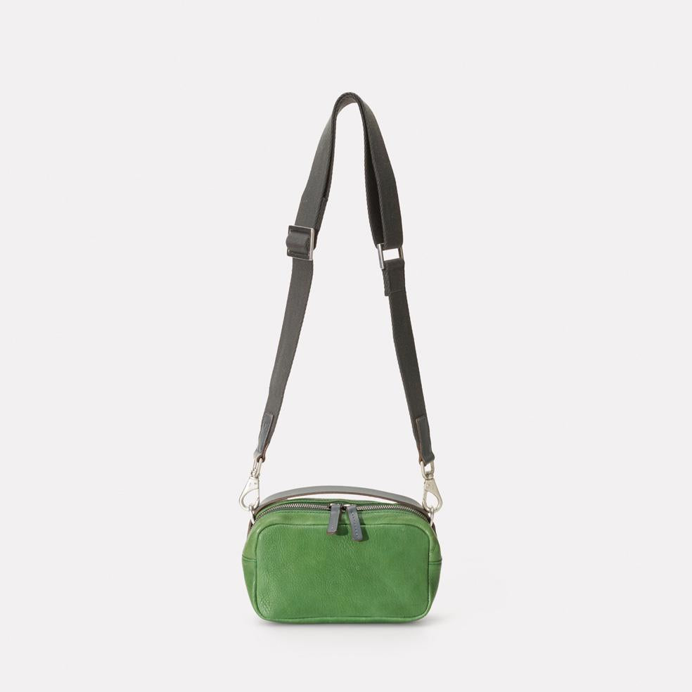 Mini Ginger Calvert Leather Crossbody Bag With Webbing Strap in Avocado