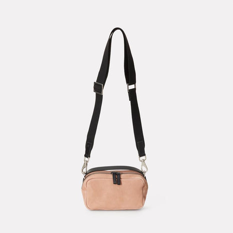 Mini Ginger Calvert Leather Crossbody Bag in Clay With Webbing Straps
