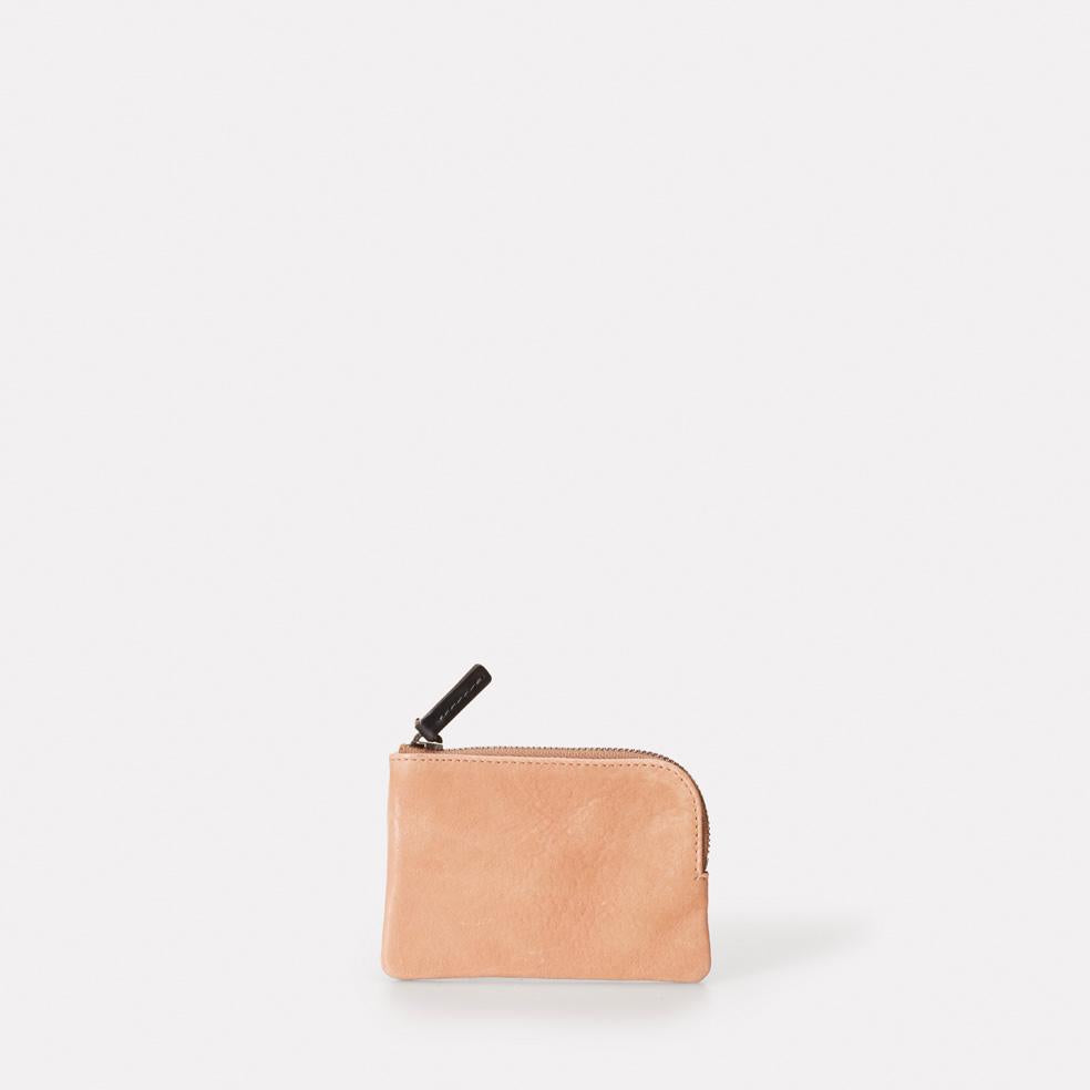 Tina Calvert Leather Zip Round Pouch in Clay