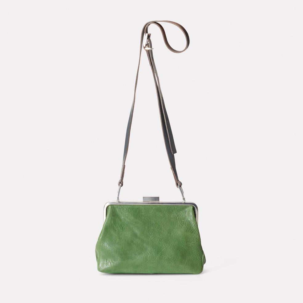 Shirley Calvert Leather Crossbody Frame Bag in Avocado