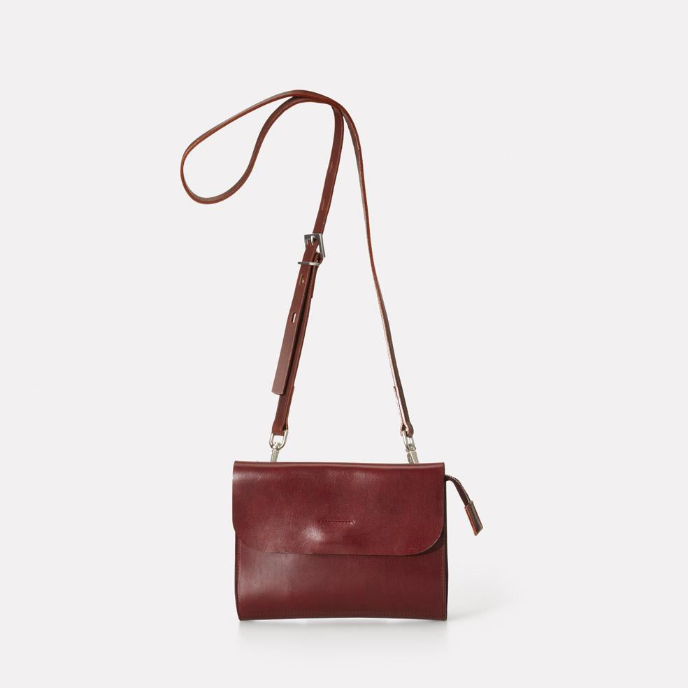Jean Polished Leather Mini Crossbody Bag in Dark Red or Women