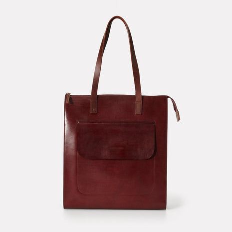 Silvia Polished Leather Tote Bag in Dark Red