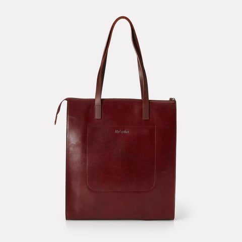 Silvia Polished Leather Tote Bag in Dark Red For Women