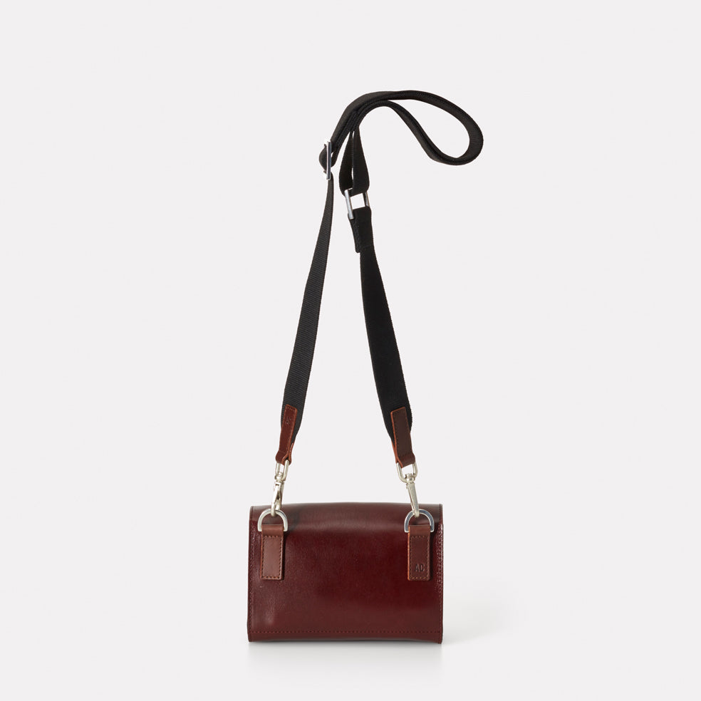 19b9a59543 SS18 Simone Mini Leather Crossbody Lock Bag in Dark Red- Ally Capellino
