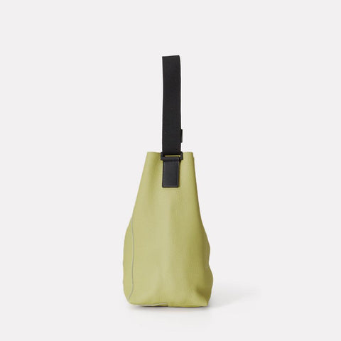 Vivienne Pebble Grain Leather Bucket Bag in Celery Green For Women