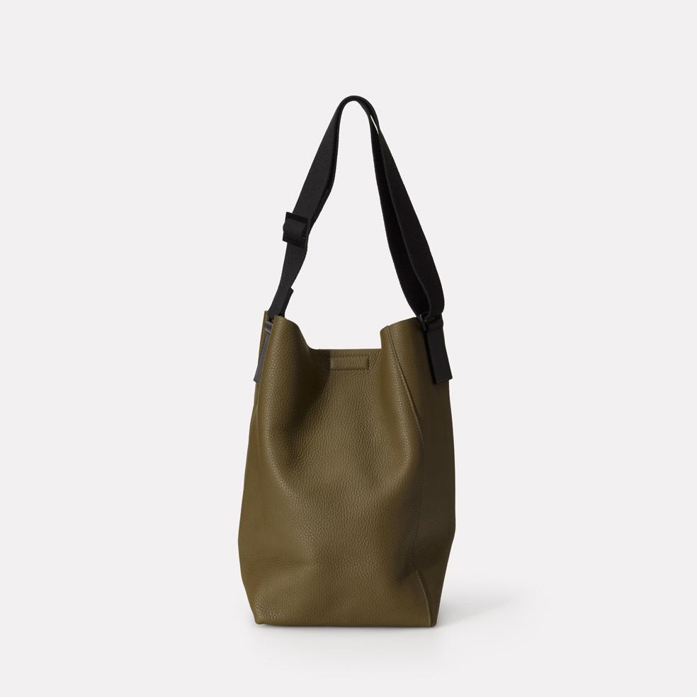 Vivienne Raw Cut Bucket Bag in Olive