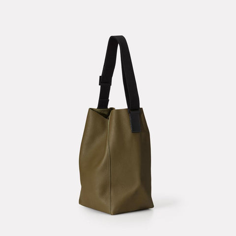 Vivienne Pebble Grain Leather Bucket Bag in Olive Green For Women