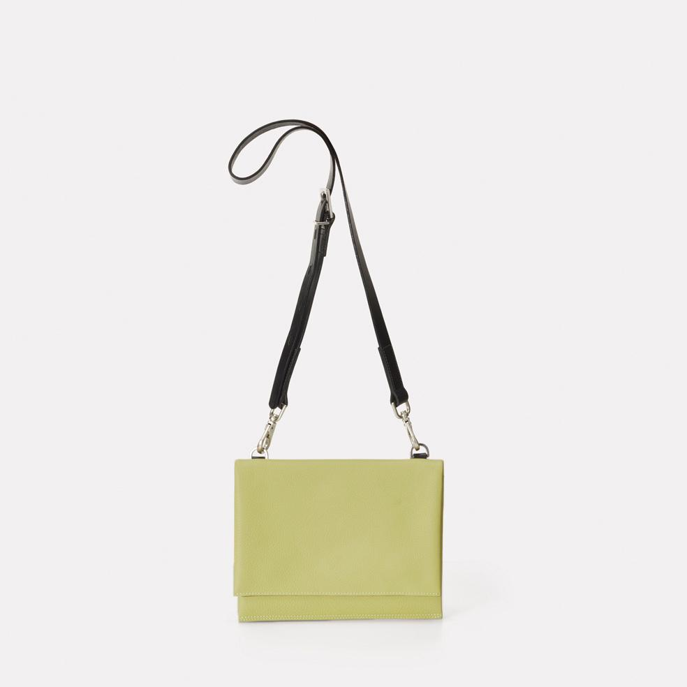 Mini Valerie Pebble Grain Leather Mini Fold Crossbody Bag in Pale Green For Women