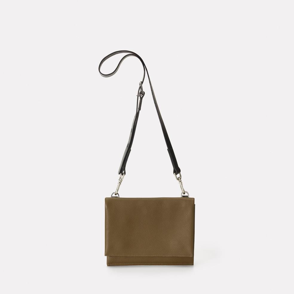 Mini Valerie Pebble Grain Leather Mini Fold Crossbody Bag in Olive Green For Women