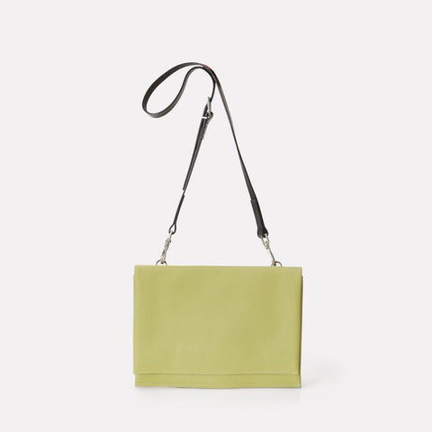Valerie Pebble Grain Leather Crossbody Fold Bag in Pale Green For Women