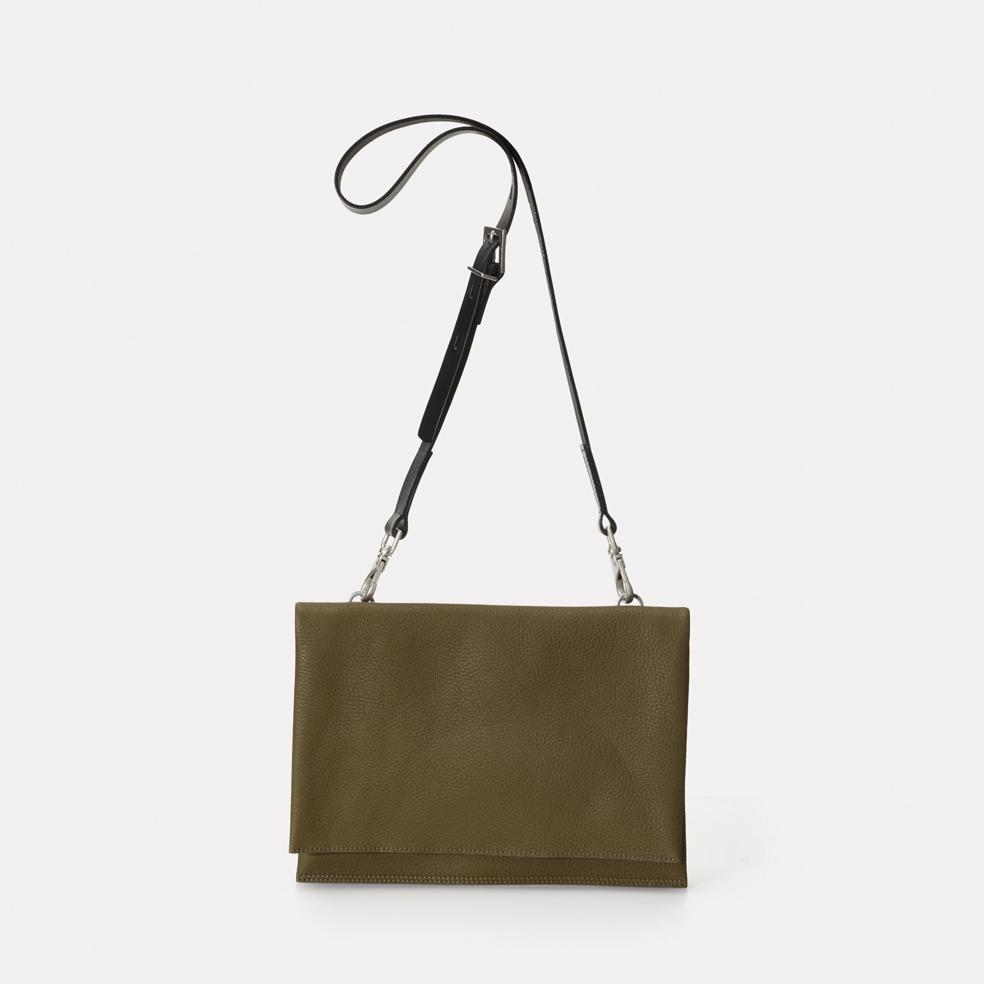 Valerie Pebble Grain Leather Crossbody Fold Bag in Olive Green For Women