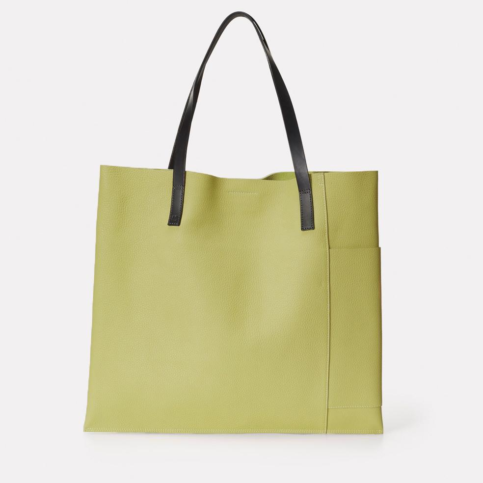 Verity Pebble Grain Leather Large Tote in Celery Green For Women