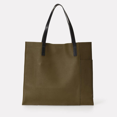 Verity Leather Tote in Olive