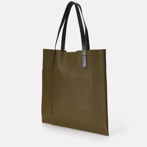 Verity Pebble Grain Leather Large Tote in Olive Green For Women