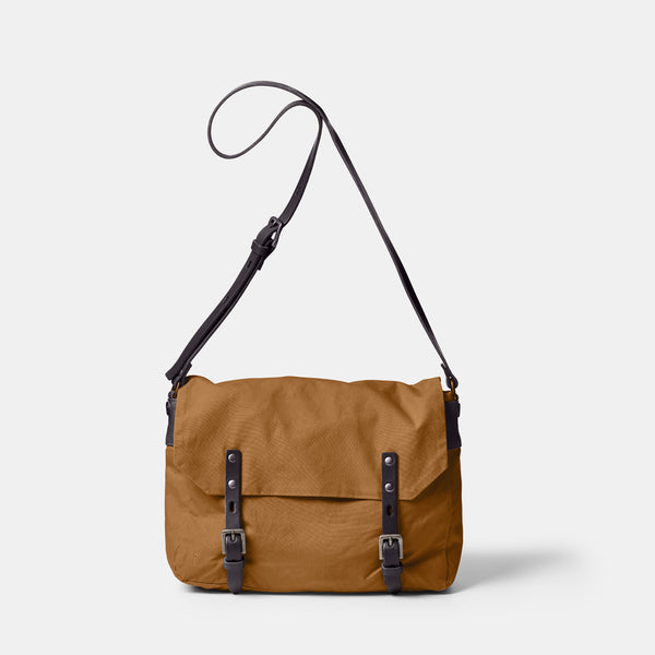 Jeremy Small Waxed Cotton Satchel in Breen Front