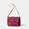 Jeremy Small Waxed Cotton Satchel in Plum Front