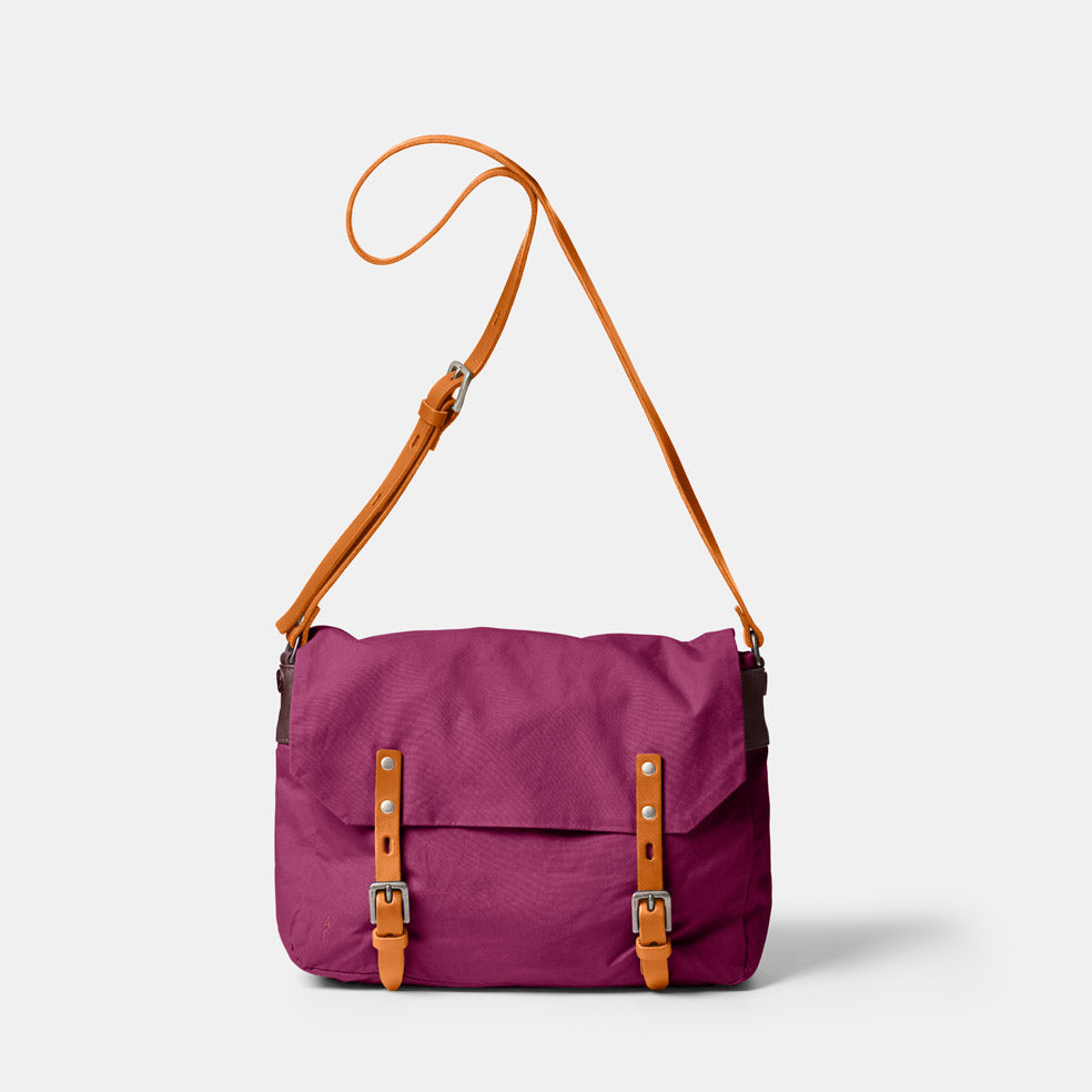 Jeremy Small Waxed Cotton Satchel in Plum