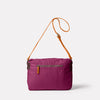 Jeremy Small Waxed Cotton Satchel in Plum Back