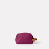 Simon Waxed Cotton Washbag in Plum Back