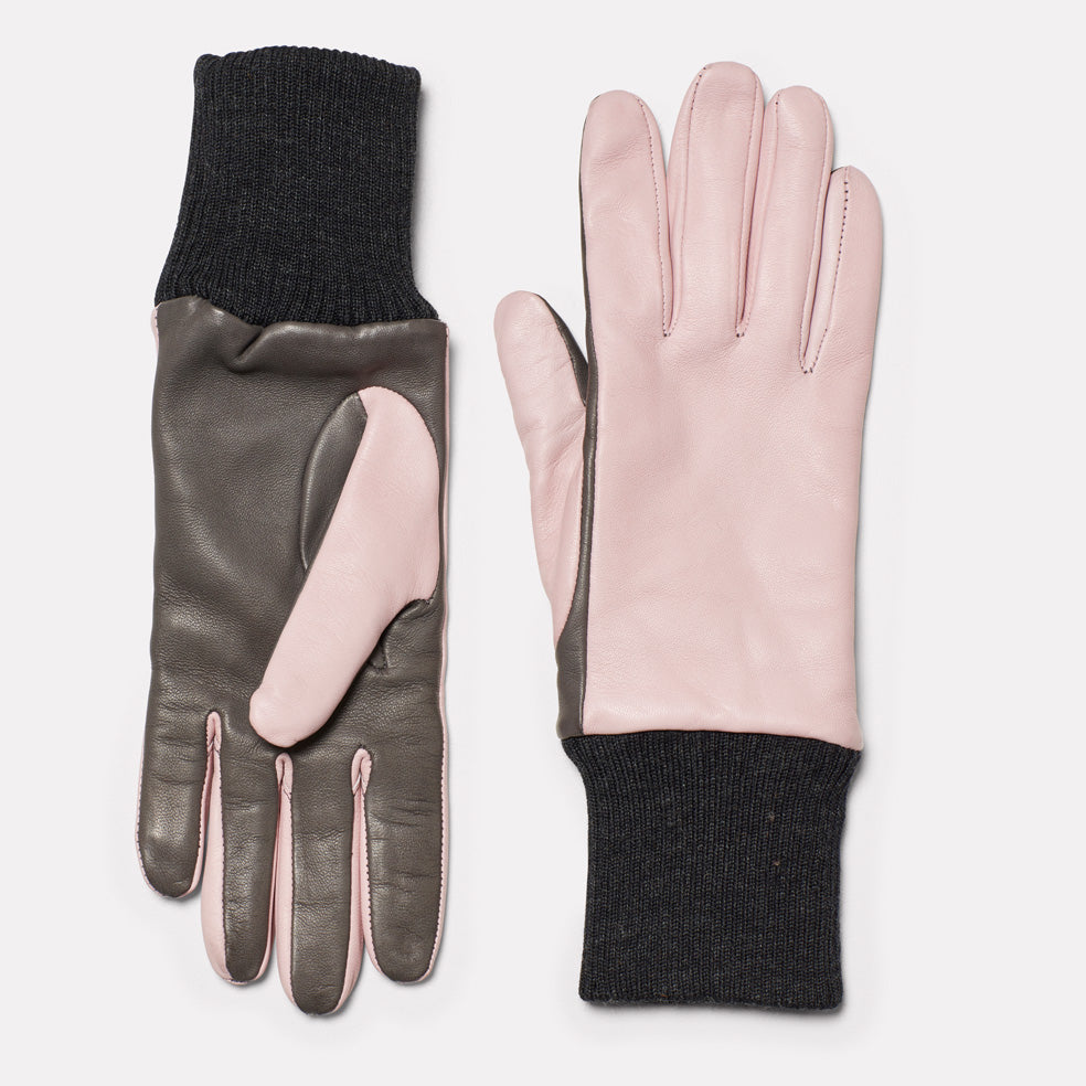 Ladies Leather Gloves in Pink & Dark Grey