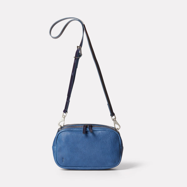 Leila Medium Calvert Leather Crossbody Bag in Navy