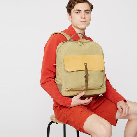 iAn Waxed Cotton & Leather Rucksack in Gooseberry
