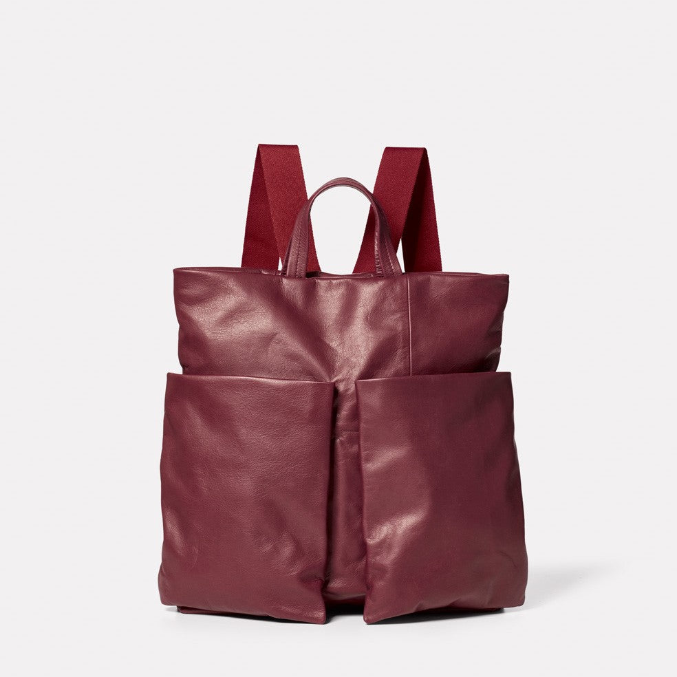 Lala Camlet Leather Convertible Backpack in Oxblood