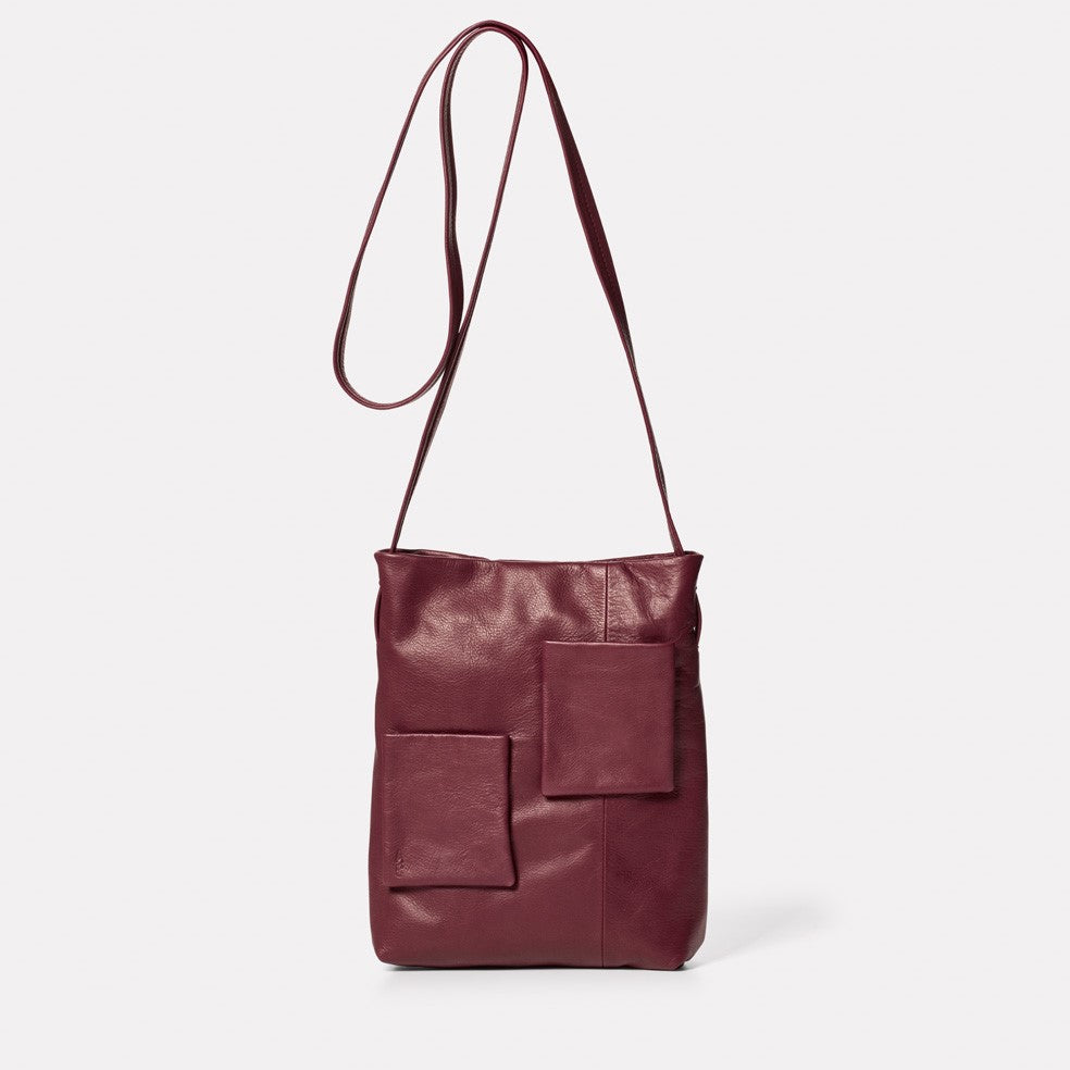 Mimi Camlet Leather Crossbody Bag in Oxblood