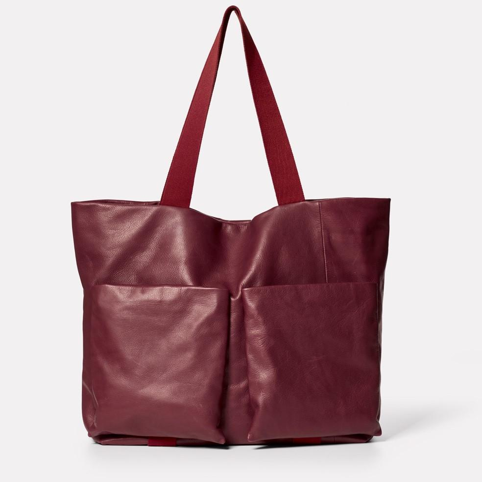 Toto Camlet Leather Tote Bag in Oxblood