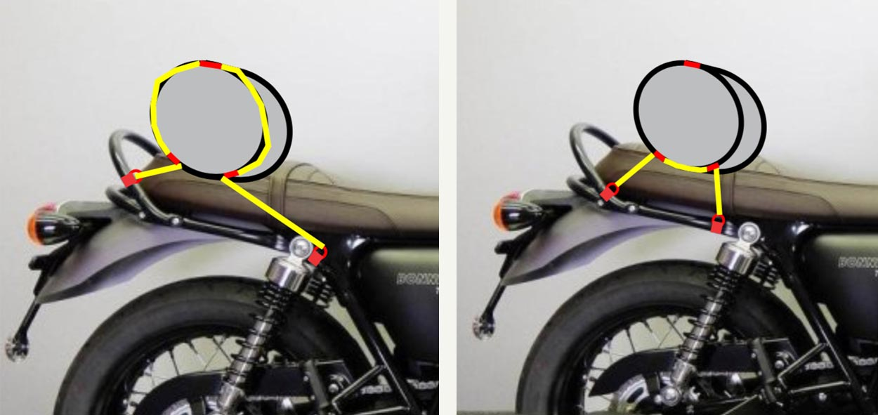 How to strap a duffle bag to motorcycle.