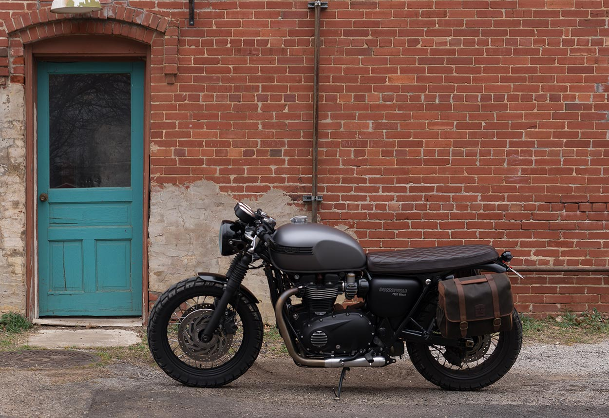 Custom T120 with soft pannier.
