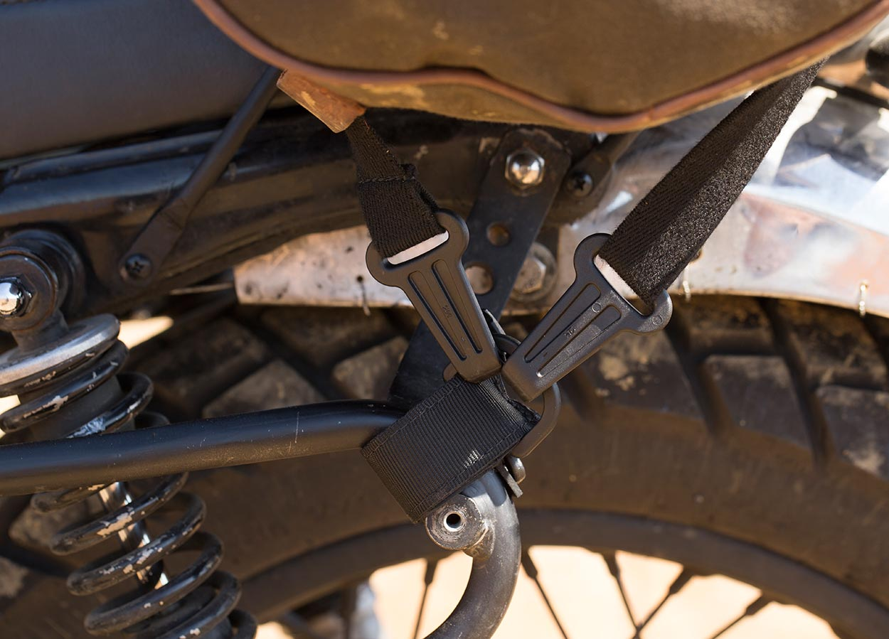 D rings support for motorcycle luggage straps.