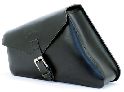 Black leather saddlebag 5,5L.