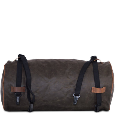 Large motorcycle duffel bag in green canvas.