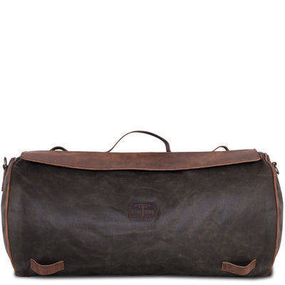 Large motorcycle duffle bag in leather and canvas.