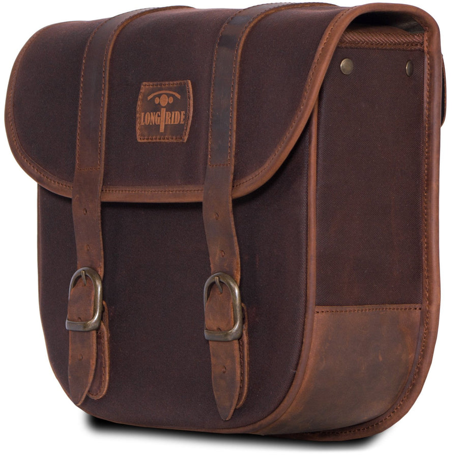 Brown cafe racer pannier motorcycle bag.