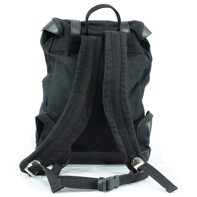 Biker backpack in black waxed cotton.