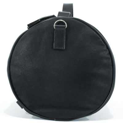 Supple black waterproof waxed cotton tail bag.