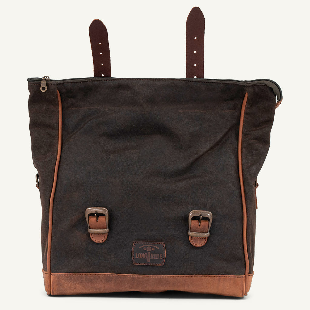 Soft vintage motorcycle saddlebag.