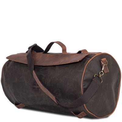 Green motorcycle duffel bag in waterproof canvas.