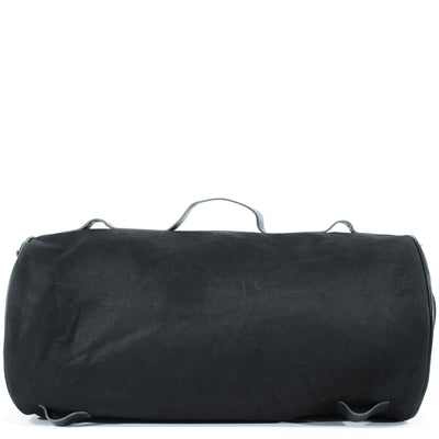 Durable large tail bag in black waxed cotton and leather.