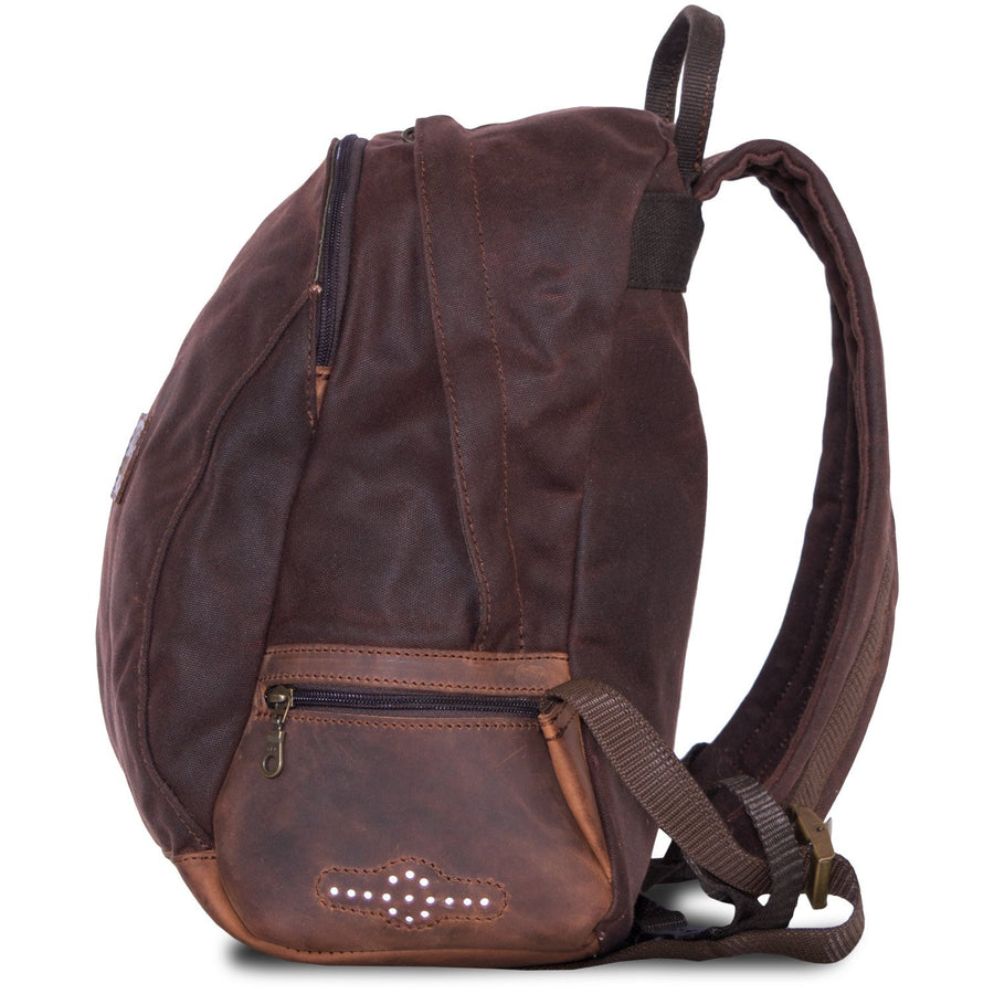 Small motorcycle backpack in brown canvas and leather.