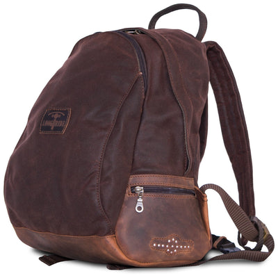 Brown waterproof motorcycle backpack in retro style.