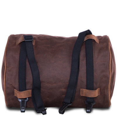 Motorcycle brown retro tail duffle bag.