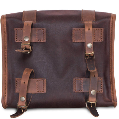Brown leather motorcycle bag.