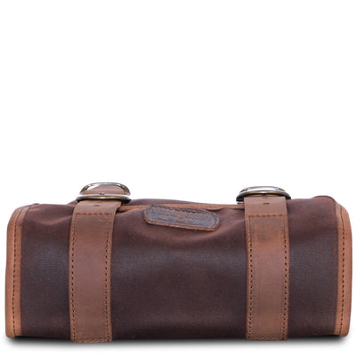 Brown waxed cotton motorcycle bag.