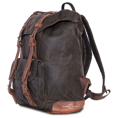 Large waterproof waxed cotton motorcycle backpack.