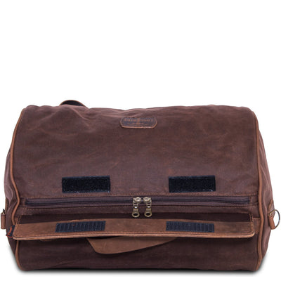 Brown waterproof motorcycle duffle bag.